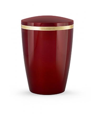 Design Urne rubinrot Goldstreifen