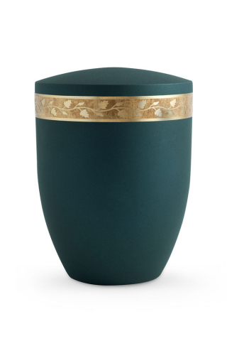 Bio Urne Krypta Petrol grün Blätterdekor altgold