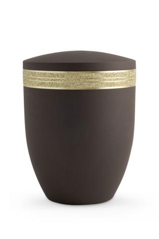 Urne braun Krypta Glitzerband gold
