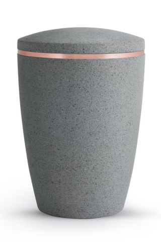 Urne Zementgrau Steinoptik Kupferband Rocka