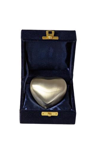 Miniurne Herz Silber gebürstet