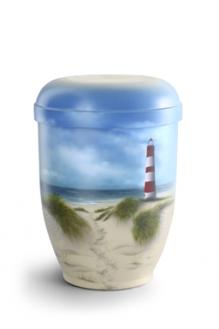 Naturstoffurne Airbrush-Motiv Inselstrand mit Leuchtturm