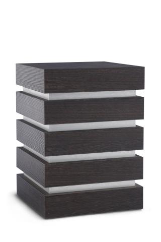 Holzwerkstoffurne Oberfläche Wenge Bonobo, gebürstetes Silberdekor