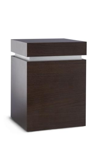 Holzwerkstoffurne Oberfläche Wenge, gebürstetes Silberdekor