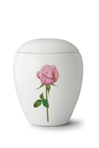 Keramikurne seidenmatt weiß glasiert Motiv Rose