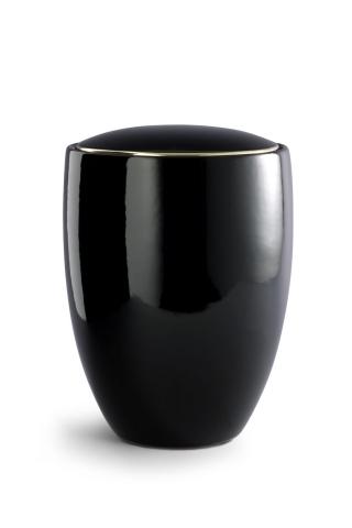 Keramikurne tiefschwarz glänzend, polierte Goldkante