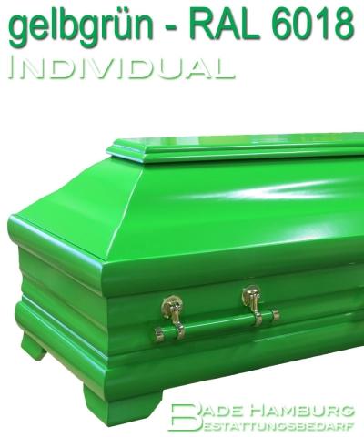 Sarg in grün, Farbwunsch RAL 6018 seidenglanz