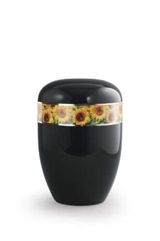 Bio Urne schwarz Sonnenblumen Motiv