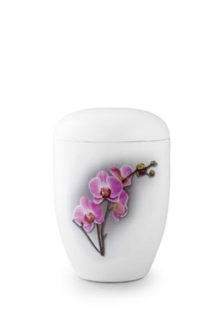 Weiße Bio Urne Klavierlack Orchidee
