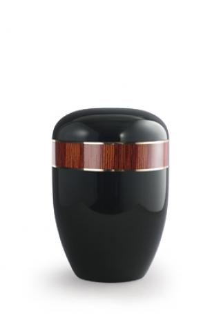 Bio Urne schwarz Klavierlack, Dekor Zebrano