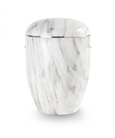 Bio Urne Marmore weiß grau