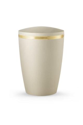 Design Urne Champagner schimmernd Goldstreifen