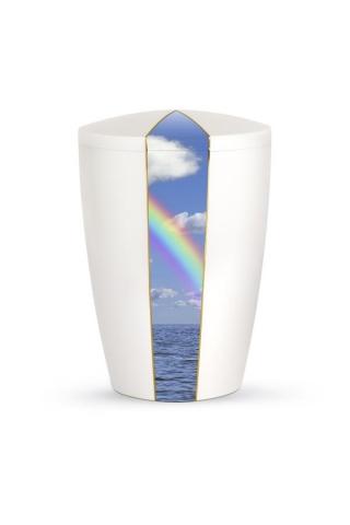Bio Urne weiß Perlmutt Firmament Regenbogen