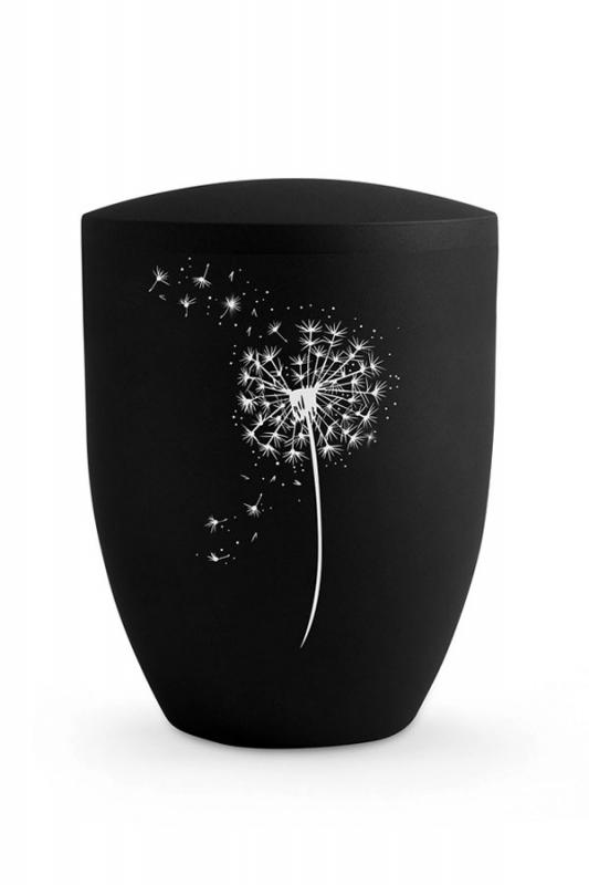 Urne Pusteblume Schwarz Matt