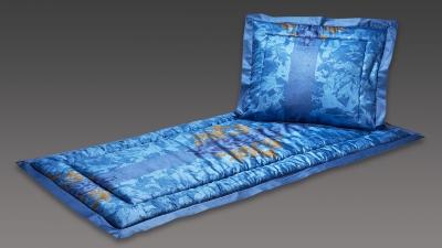Deckengarnitur blau mit Emblem