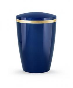 Design Urne blau glänzend Goldstreifen
