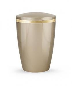 Design Urne Champagner glänzend Goldstreifen