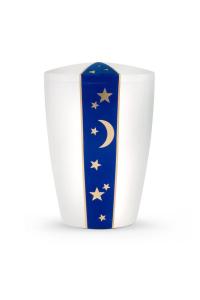 Urne Satin weiß Samtdekor blau Mond Sterne