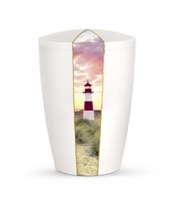 Bio Urne Perlmutt Leuchtturm