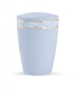 Urne hellblau Pastell blaue Blätter