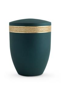 Bio Urne Krypta Petrol grün Glitzerband gold