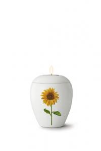 Kleinurne mit Gedenklicht, seidenmatt weiß glasiert, Motiv Sonnenblume