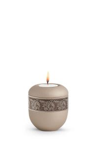 Mini Urne für zu Hause mit Teelicht Papyrus Urne Champagner antikes Dekor Baumkrone