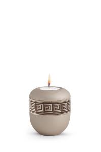Mini Urne für zu Hause mit Teelicht Papyrus Urne Champagner antikes Dekor Mäander