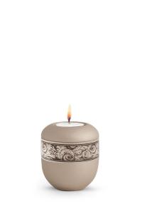 Mini Urne für zu Hause mit Teelicht Papyrus Urne Champagner antikes Dekor Federn