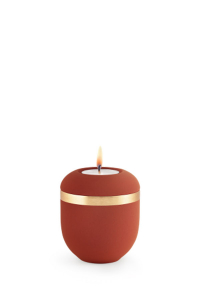 Mini Urne mit Teelicht rot samton