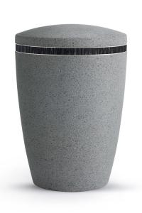 Urne Zementgrau Steinoptik Dekor schwarz Rocka