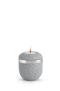 Kleine Urne betongrau Silberband Teelicht Rocka