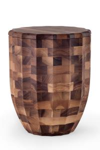 Walnuss Urne Hirnholz Säulenform Oberfläche geölt