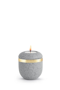 Miniurne mit Teelicht betongrau Goldband Rocka