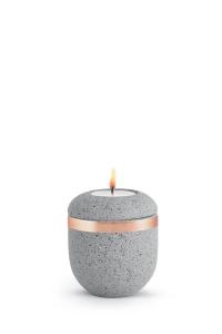 Mini Urne mit Teelicht betongrau Kupferband Rocka