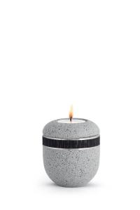 Mini Urne mit Teelicht betongrau schwarzes Band Rocka