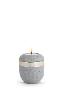 Mini Urne mit Teelicht betongrau Perlmutt Band Rocka