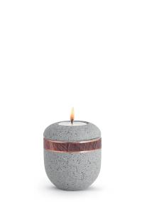 Miniatur Urne mit Teelicht betongrau Band Altkupfer Rocka