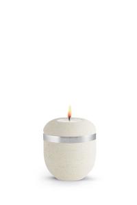 Kleine Urne für zu Hause Silberband Teelicht Rocka