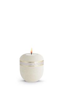 Mini Urne für Asche creme Dekor Perlmutt Teelicht Rocka