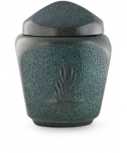 Keramikurne dreieckig grün patiniert