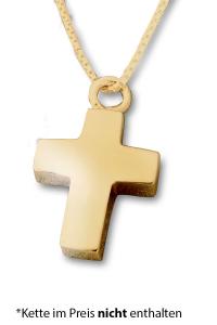 Ascheschmuck Kreuz vergoldet