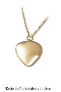 Anhänger für Asche kleines Herz vergoldet