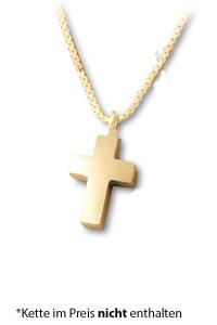 Anhänger für Asche kleines Kreuz vergoldet