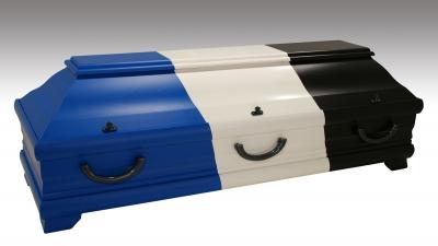 Sarg in drei Farben - schwarz, weiß und blau