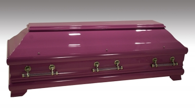 Wunschfarbe am 98 Kiefer, RAL4001 und Acrylgriffe mit lila Granulat befüllt