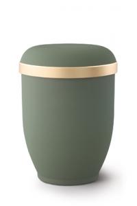 Urnen online Shop Auswahl: Naturstoffurne Samtton Oliv, Goldrand antikgold