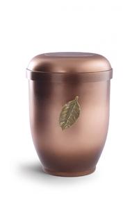 Urnen online Shop Auswahl: Naturstoffurne altkupfer, Motiv fallendes Blatt