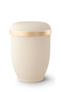 Urnen online Shop Auswahl: Naturstoffurne Samtton Créme, Goldrand antikgold
