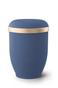 Urnen online Shop Auswahl: Naturstoffurne Samtton Marine blau, Goldrand antikgold